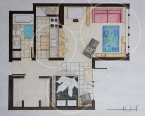 500 Sq. Ft. - Featuring Office, Breakfast Nook, Living Room, Bedroom, Bathroom, and Storage