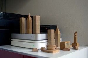 Tiny Manhattan wooden blocks are a playful detail that gets a lot of smiles.